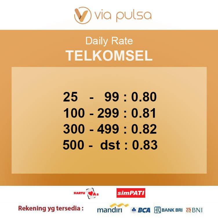 Rate Convert Pulsa Telkomsel Viapulsa