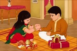 sister tying rakshi to her brother