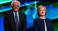 Clinton and Sanders at the 1st Democratic debate