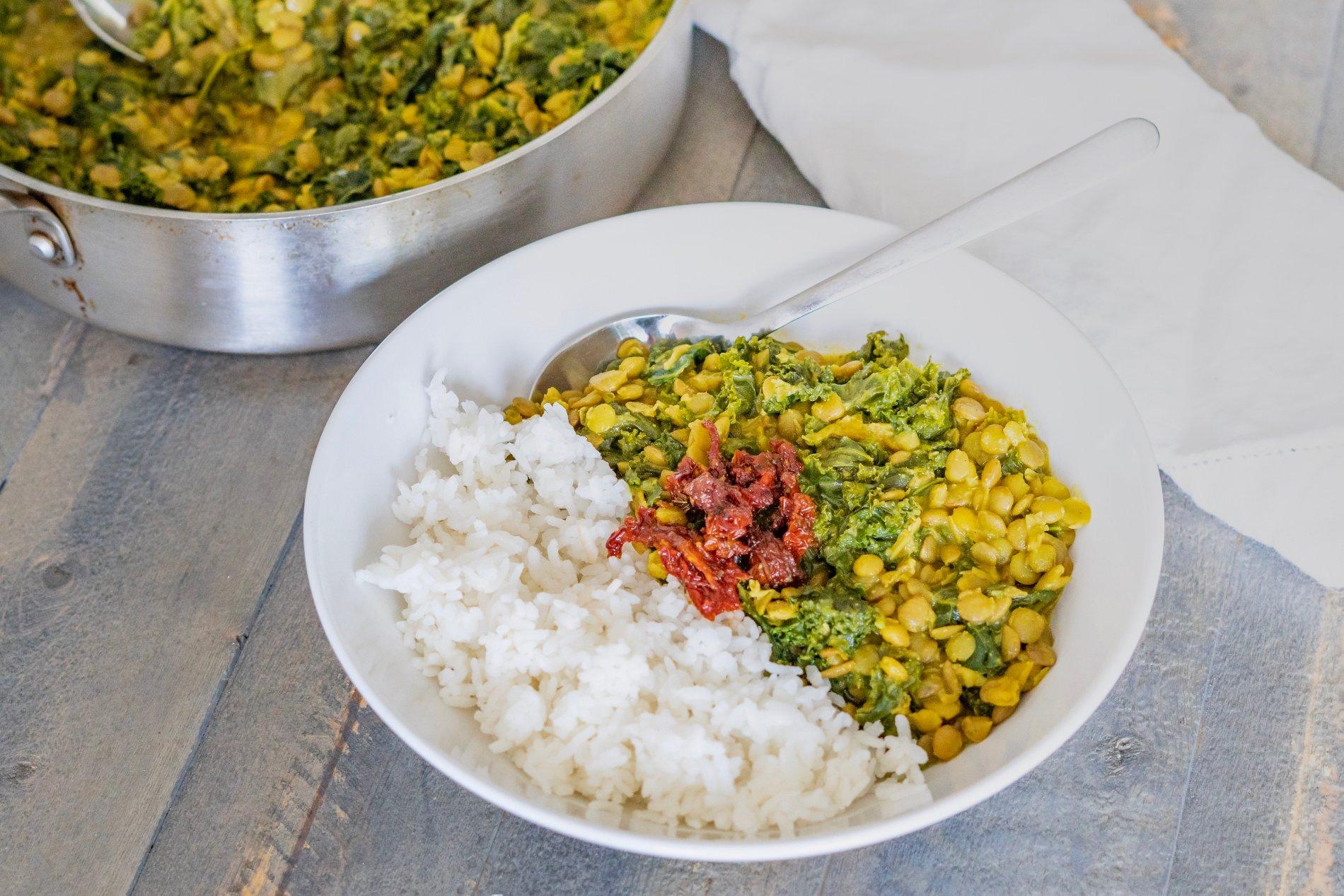 lentil curry kale gluten free PIN