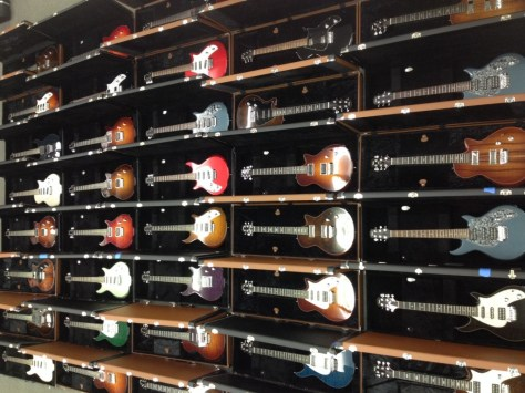 A few of the lesson program's 42 Taylor electric guitars.