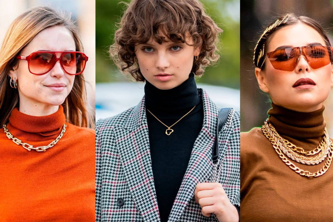 The winter outfit? Turtleneck and contrasting necklace