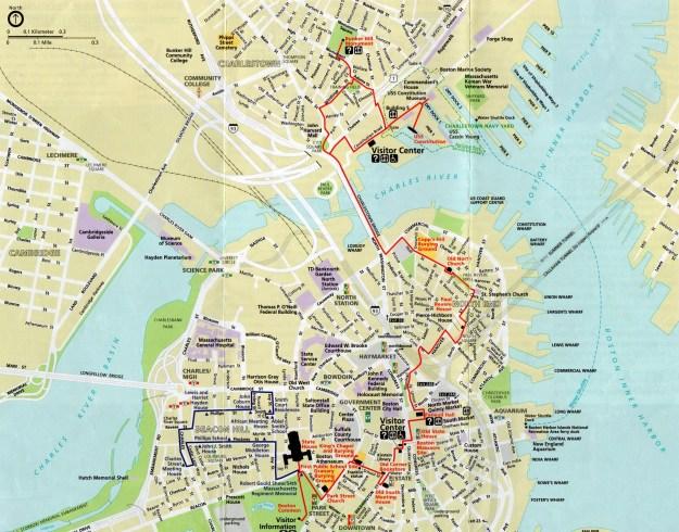 Mapa do Freedom Trail, em Boston. Foto: Reprodução
