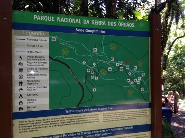 Mapa da unidade de Guapimirim do Parque Nacional da Serra dos Órgãos. Foto: Marcelle Ribeiro