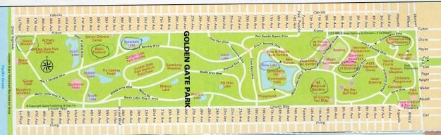 Mapa do Golden Gate Park. Foto: Reprodução.