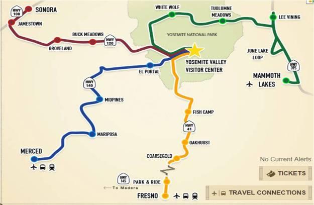 Mapa da região de Yosemite extraído do site http://yarts.com/