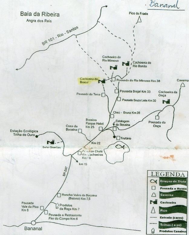 Mapa para chegar  à cachoeira do Bracuí.