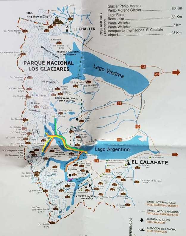 mapa navegação o que fazer em el calafate