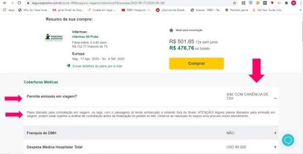busca site seguros promo estender seguro viagem