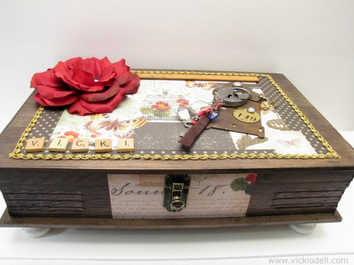 mixed media box, composite flower, industrial chic, vintage treasures