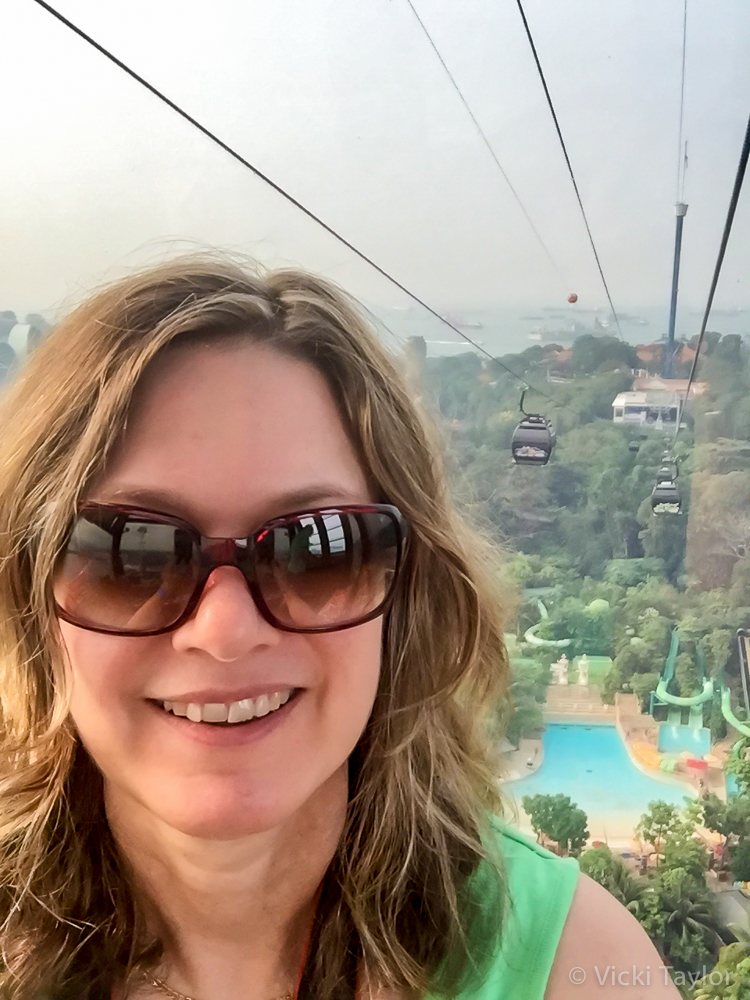 Selfie taken in a cable car descending to Sentosa Island which can be seen behind me.