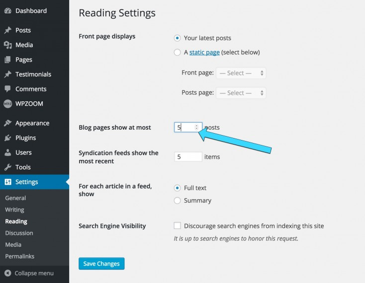 How to Change Number of Posts on Homepage