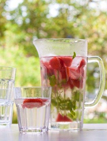 Vicky van Dijk   Fruitwater van aardbeien, watermeloen en munt