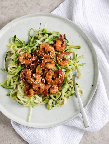 Courgetti met cocktail garnalen