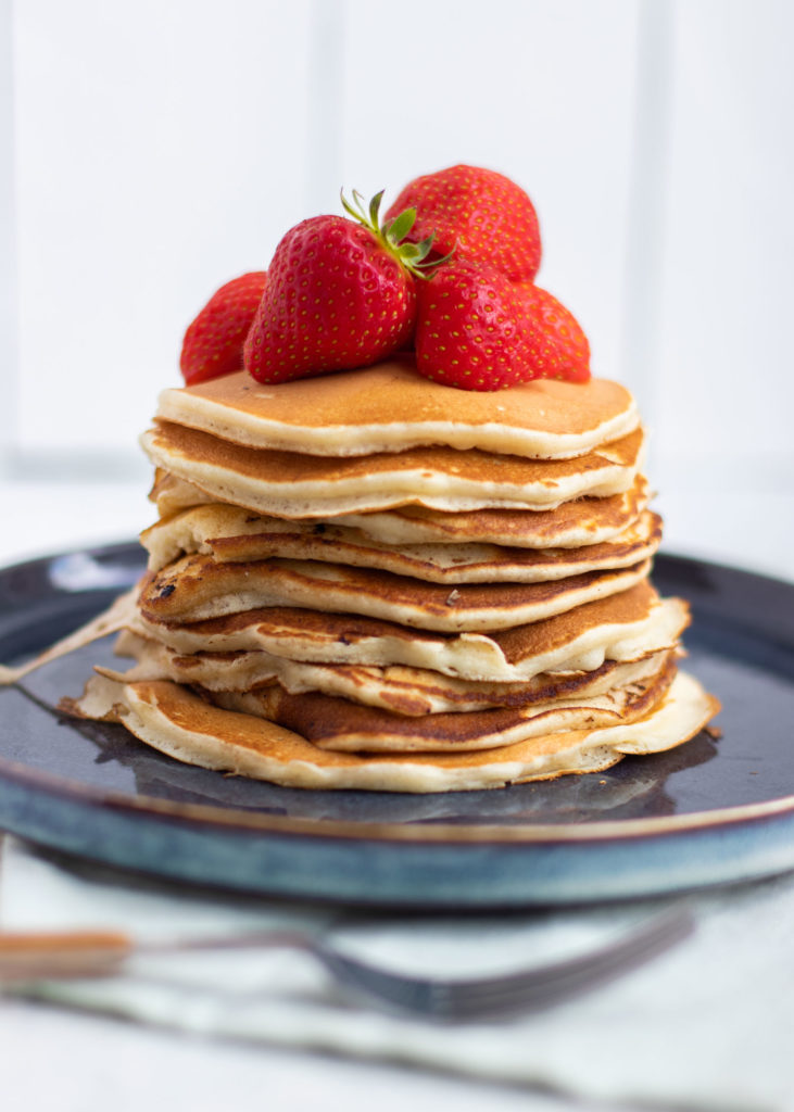 Pannenkoekjes met aardbeien & vanillesaus