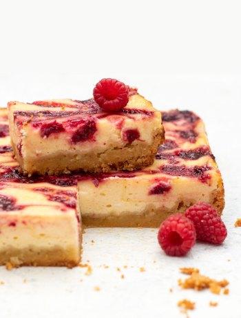 Frambozen cheesecake bars