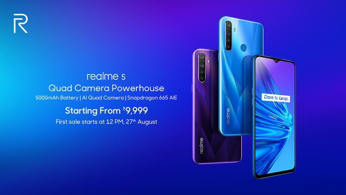 Realme 5 launched price Rs. 9,999 with Quad AI camera, 5000mAH battery, SDM 665 processor
