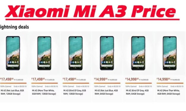 Xiaomi Mi A3 Price revealed on Amazon accidently: Price, storage & color