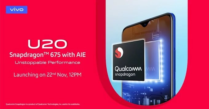 Vivo U20 launch in India on 22nd Nov: Snapdragon 675 processor, 5000mAH battery