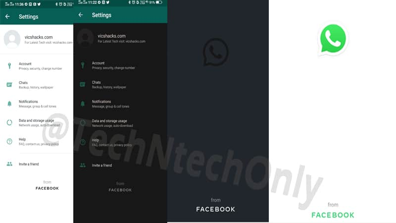 WhatsApp new update redesigned Facebook footer on Light & Dark mode