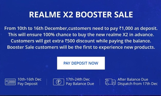 Realme X2 Booster Sale: Rs. 500 discount & launch day dispatch