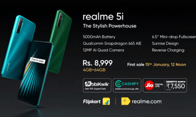 Realme 5i First sale on 15th Jan via Flipkart – Price & Spec details
