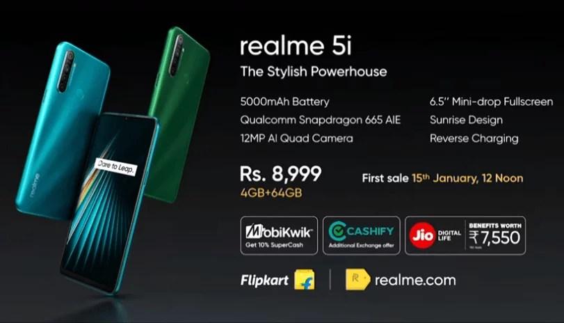 Realme 5i First sale on 15th Jan via Flipkart – Price & Spec details