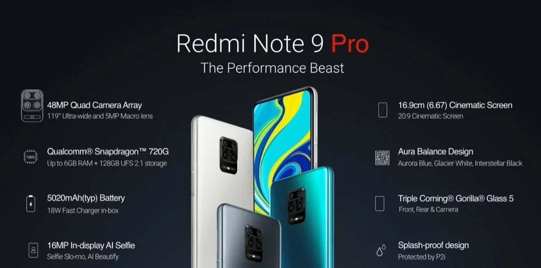 Redmi Note 9 Pro Specifications – 48MP Quad Cameras, 16MP Selfie, Snapdragon 720G