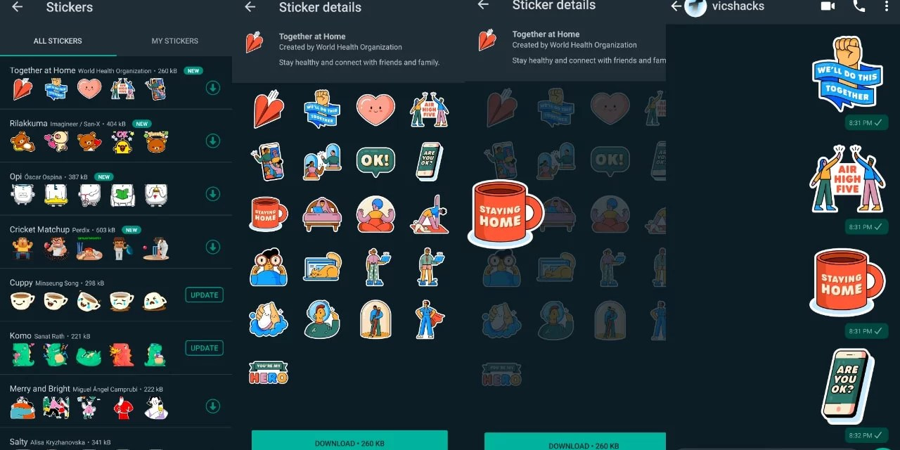 """WhatsApp released new Sticker Pack """"Together at Home"""""""