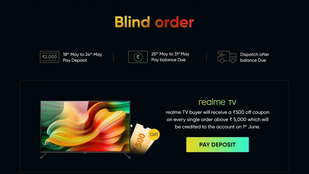 Realme smart tv blind order