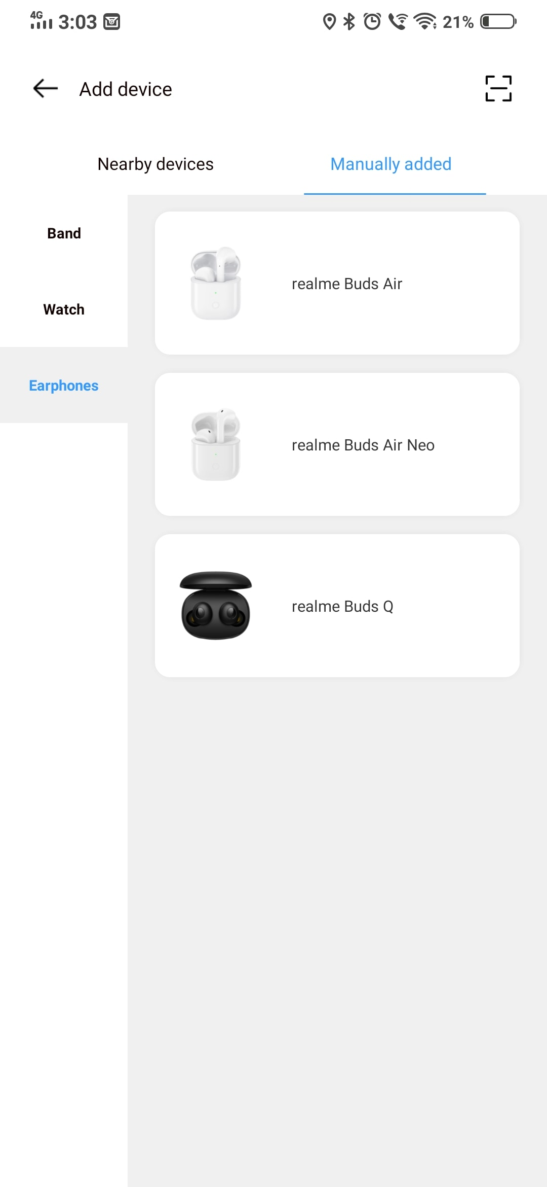 Realme buds q listed on realme link app