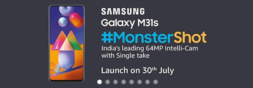 Samsung Galaxy M31s launching in India on 30th July. Galaxy M31s is an Amazon exclusive shows actual smartphone first look, Galaxy M31s has center punch-hole display