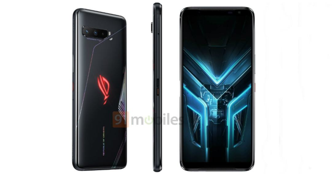 ASUS ROG Phone 3 comes in similar design as Asus ROG Phone 2 but with triple rear cameras and removed accent color design on the top & bottom of the speakers.