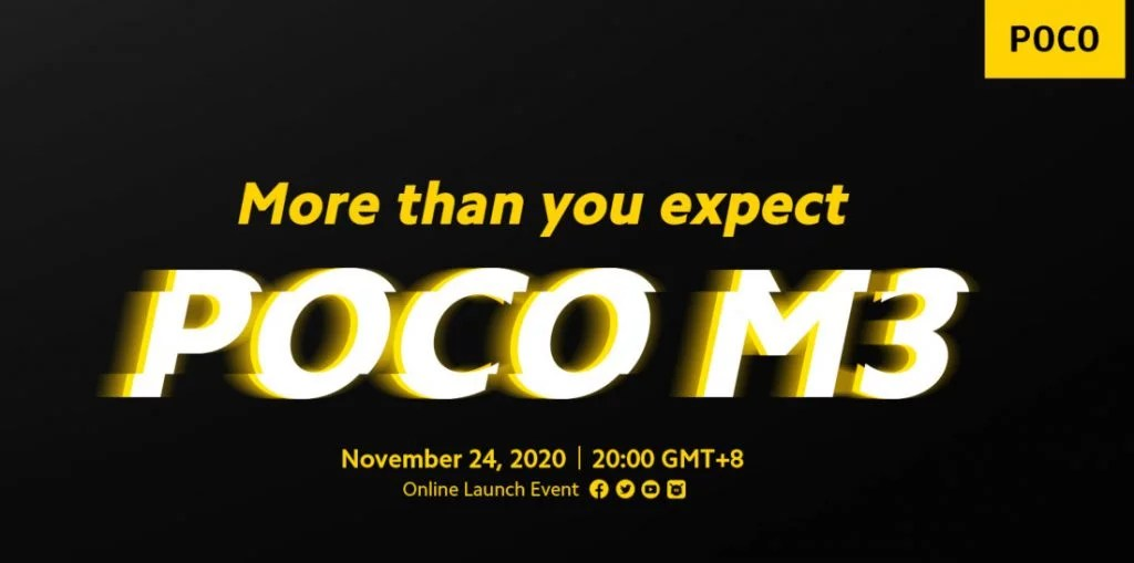 POCO Global has scheduled an event on November 24th to introduce its new POCO M3 smartphone in the M series. It powered by Snapdragon 662 processor,