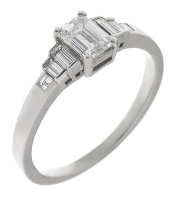 Art deco emerald cut and baguette diamond engagement ring Art deco emerald cut and baguette diamond engagement ring main image    product number 1319