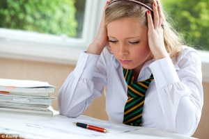 school girls worrying about exams