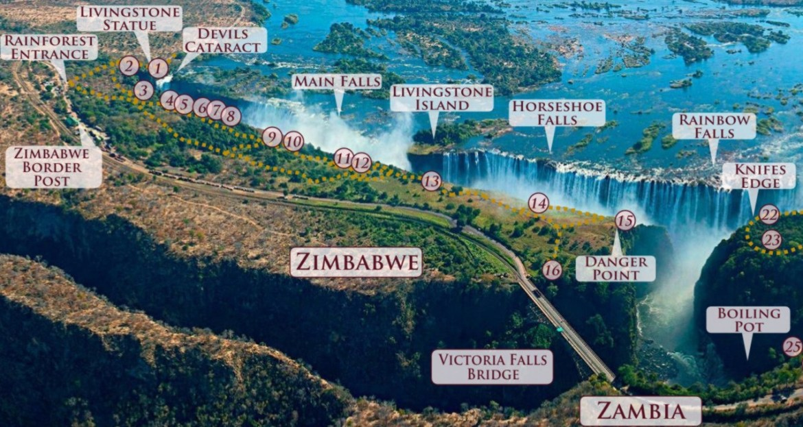 Map of the viewpoints in the Victoria Falls Rainforest, Zimbabwe