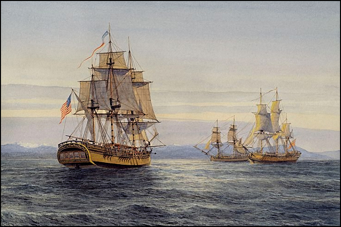 Columbia encounters HMS Chatham and HMS Discovery off the Olympic Peninsula
