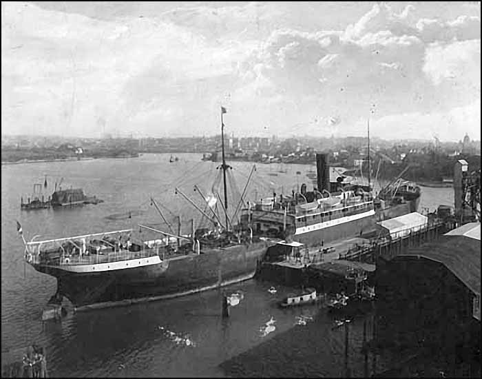 Ship Loading at Victoria Chemical Company wharf, Outer Harbour, ca. 1910 Ship loading at Victoria Chemical wharf at Outer Harbour, ca. 1910. City of Victoria Archives image M09009. .jpg