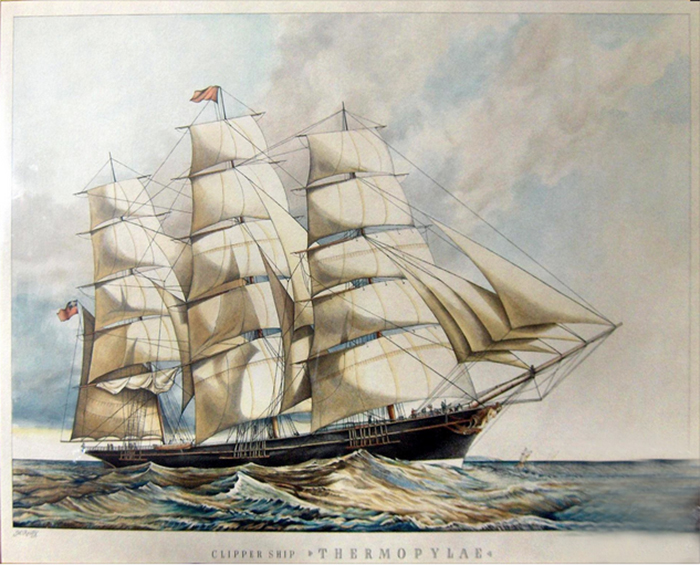 The clipper ship Thermopylae, as she looked in her heyday as the fastest ship on any of the seven seas.