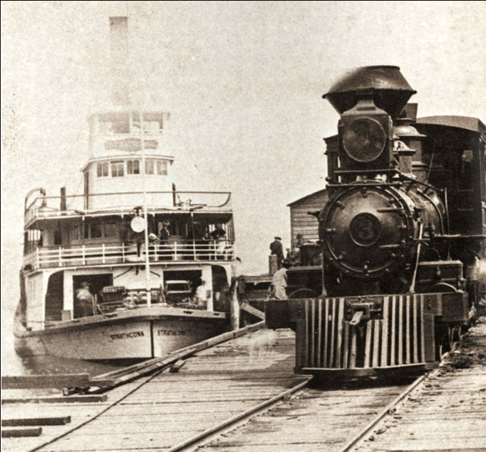Sternwheeler SS Strathcona and V&S locomotoive #3 at the Sidney Docks circa 1902 Courtesy of BC Archives