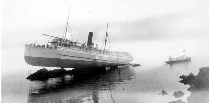 Princess May grounded off Sentinel Island in 1910
