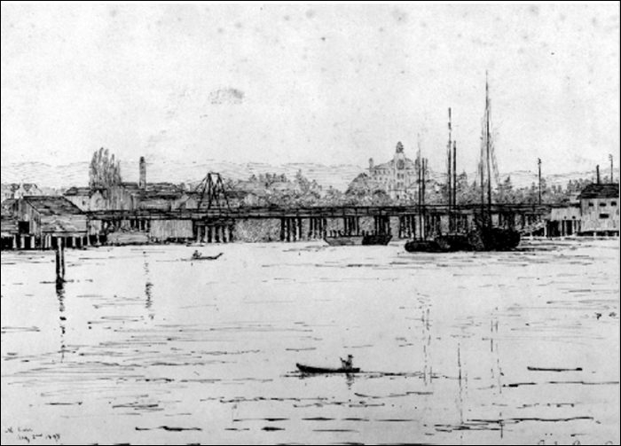 Emily Carr's 1885 drawing of the Rock Bay bridge
