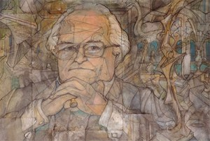 Michael Williams, by Godfrey Stephens (pen and ink on paper, 1994). Image: courtesy of UVic Legacy Art Galleries.
