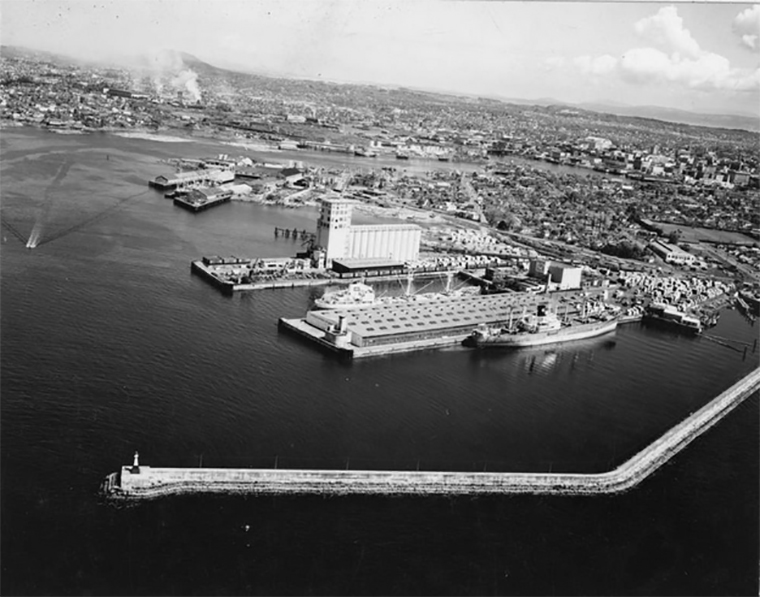 Aerial Ogden Point Docks in 1963 Courtesy of BC ARchives NA-21747 - A