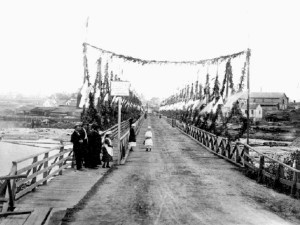 The Rock Bay Bridge decorated for the 1876 Governor-General's visit to Victoria. photo courtesy of Hallmark Society Archives