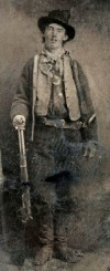 Tintype of Billy the Kid (Nov 23, 1859?–?c. July 14, 1881); believed to have been taken outside a saloon at Fort Sumner, New Mexico in either 1879 or 1880.