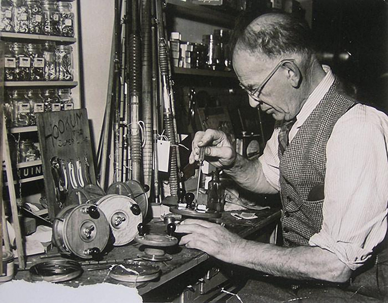 Boris Cecil Peetz working in the shop on one of his famous Peetz fishing reels.