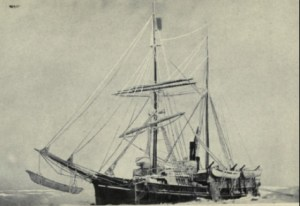Karluk, fast in the Arctic ice with a umiak hanging in slings below her bowsprit. August 1913 about 15 miles west of Manning Point, Alaska,. The last voyage of the Karluk : McLelland, Goodchild & Stewart, Toronto 1916