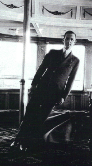 Norman Yarrows standing upright in the saloon of the Prince Rupert when the ship was partially submerged at the wharf.